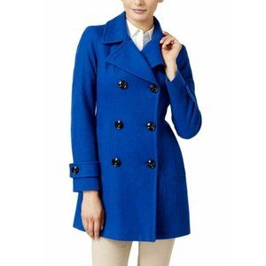 Anne Klein Double-Breasted Long Peacoat Blue S